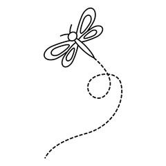 cute flying dragonfly natural animal vector illustration outline image