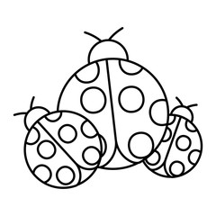 ladybugs insect small icon animal vector illustration outline image