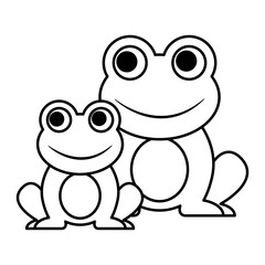 frogs cute animal sitting cartoon vector illustration outline image