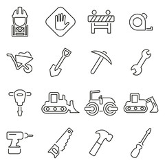 Construction or Building Site Icons Thin Line Vector Illustration Set