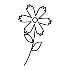 flower stem leaves nature petals decoration vector illustration outline image