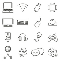Computer Technology & Equipment Icons Thin Line Vector Illustration Set