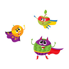 vector flat cartoon funny fruit, vegetable character in masks set. Orange and apple flying like superman, devil horns watermelon stands like villain. Isolated illustration on a white background.