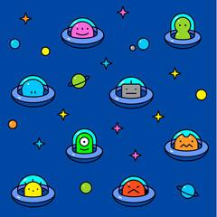 Colorful UFO aliens cartoon pattern