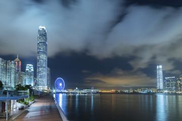 Panorama of skyline of Victoria Harbor of Hong Kong city at night