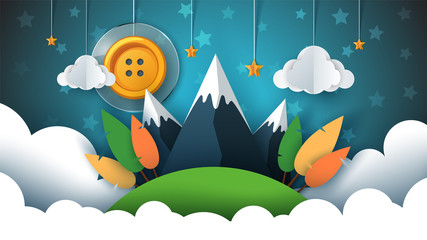 Cartoon paper landscape. Sewing button, sun, star, cloud, sky mountain travel Vector eps 10