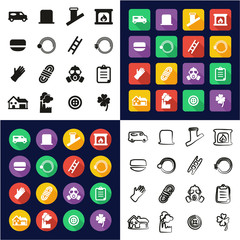 Chimney Sweeper All in One Icons Black & White Color Flat Design Freehand Set