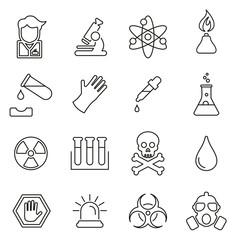 Chemistry Lab Equipment Icons Thin Line Vector Illustration Set