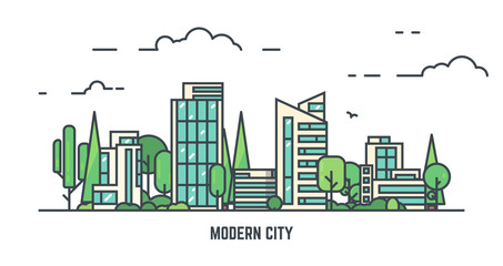 City with buildings and skyscrapers and trees. Flat style line vector illustration. Business city center with modern houses. Green park in center of town. Clouds and sky. Park and smart city concept. Fototapete