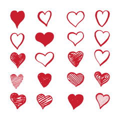 Hand drawn hearts on a white background. Valentine's day vector set.