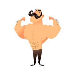 Cartoon muscular brutal man with a mustache. Funny athletic guy. Bald man proudly shows his muscles in strong arms. Vector flat illustration of an athlete or circus performer. Strong character with