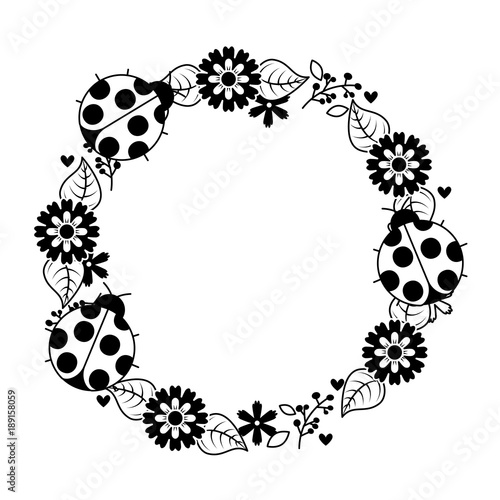 Beautiful floral wreath with spring flowers leaves vector beautiful floral wreath with spring flowers leaves vector illustration outline image mightylinksfo
