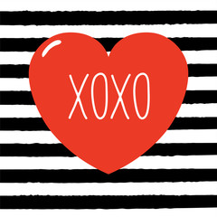 Hand drawn Valentines day greeting card with red heart and text XOXO. Isolated objects on black and white striped background. Vector illustration. Design concept for children.