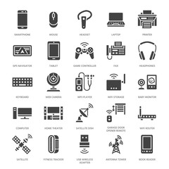 Wireless devices flat glyph icons. Wifi internet connection technology signs. Router, computer, smartphone, tablet, laptop, printer, satellite. Vector silhouette illustration for electronic store.