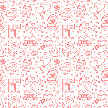 Valentines day seamless pattern. Love, romance flat line icons - hearts, engagement ring, kiss, balloons, doves, valentine card. Red white colored wallpaper for february 14 celebration.