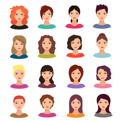 Woman with different hairstyle. Beautiful young female faces vector avatar set