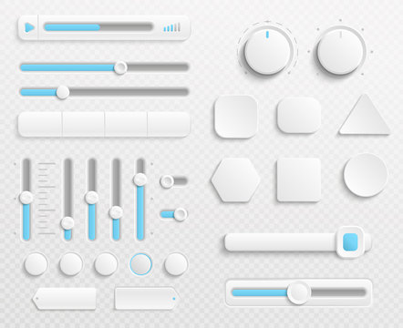 White web buttons and ui sliders vector set isolated on transparent background