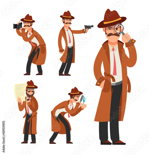 ed2f68b452f Cartoon private detective. Police inspector vector character set ...