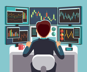 Stock market trader looking at multiple computer screens with financial and market charts. Business analysis vector concept