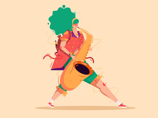 Colorful jazz illustration. Girl walking with saxophone flat isolated vector illustration