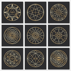 Ancient masonic pentagrams. Steampunk gold sacred vector symbols on dark backgrounds