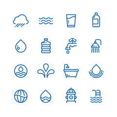 Crystal clean water drops, fresh drinks and hygiene line vector icons