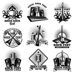 Retro rock n roll band labels. Grunge rocks party festival vector labels