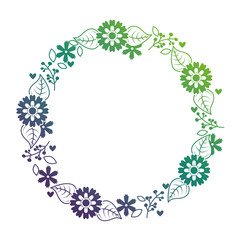 beautiful floral wreath with spring flowers leaves vector illustration