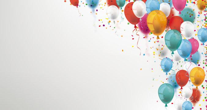 Banner mit Bunten Luftballons und Konfetti