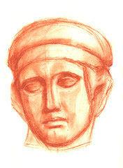 A sketch of the plaster head of Diana in a pencil. Academic drawing.