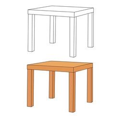 table on white background