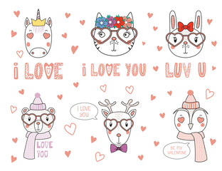 Set of hand drawn portraits of cute funny animals with different accessories, romantic quotes. Isolated objects on white background. Vector illustration. Design concept children, Valentines day card.