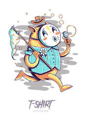 Poster, card or t-shirt print with cat blowing bubbles. Trendy hipster style illustration