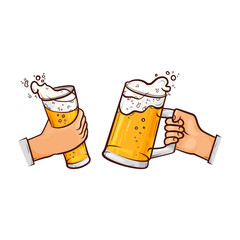 vector cartoon man hands holding full mugs of golden lager cool beer with thick white foam and water drops toasting. Ready for your design isolated illustration on a white background.