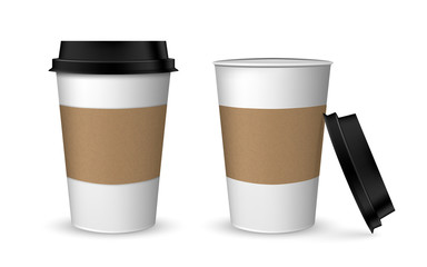 Blank realistic coffee cup mockup. Realistic paper coffee cup set. Paper cups isolated on white.