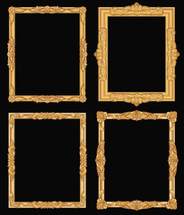 Vintage gold ornate square frames isolated. Retro shiny luxury golden vector borders
