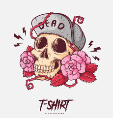 Poster, card or t-shirt print with skull and roses. Trendy hipster style illustration