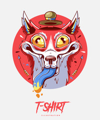 Poster, card or t-shirt print with crazy fox. Trendy hipster style illustration
