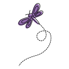 cute flying dragonfly natural animal vector illustration