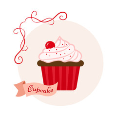 Fruit sweet dessert. Colored cupcake with cherry on light red background and ribbon with inscription. Vector illustration