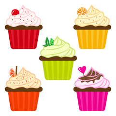 Sweet dessert. Colorful set of fruit cupcakes. Vector illustration