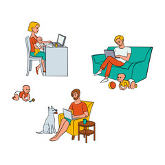 Vector cartoon people working from home, remote, freelance work set. Woman sitting at table with infant baby behind laptop, men at sofa, armchair typing near dog, playing child. Isolated illustration.