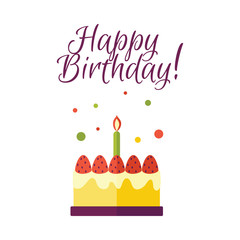 Vector flat birthday celebration symbol - birthday cake with candle icon with happy birthday lettering inscription. Festive sweet food element. Isolated illustration on a white background