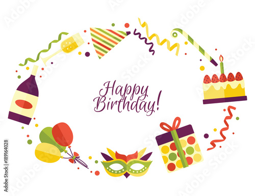 Vector Flat Happy Birthday Card Template With Celebration Symbols Icon Set. Birthday  Cake With Candle