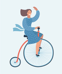 Retro hand drawn lady with hat and dog in tweed costume on a bicycle
