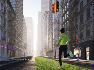 young woman jogging alone in the streets of city on a green strip. 3d rendering