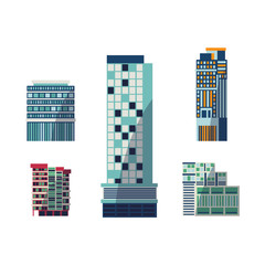 Vector flat building architecture icon set. Modern vintage skyscaper business architecture residental building cottage. Office apartment construction for urban landscape background design illustration
