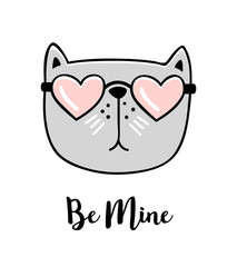 Be mine. Hand drawn greeting card with Valentines day quote