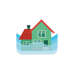 Vector flat house insurance concept. House being damaged by flood. Natural disaster insurance scene. Isolated illustration on a white background