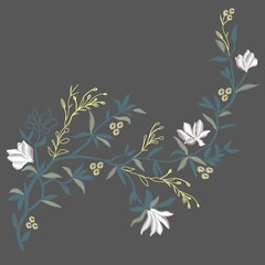 Magnolia embroidery , vector, illustration